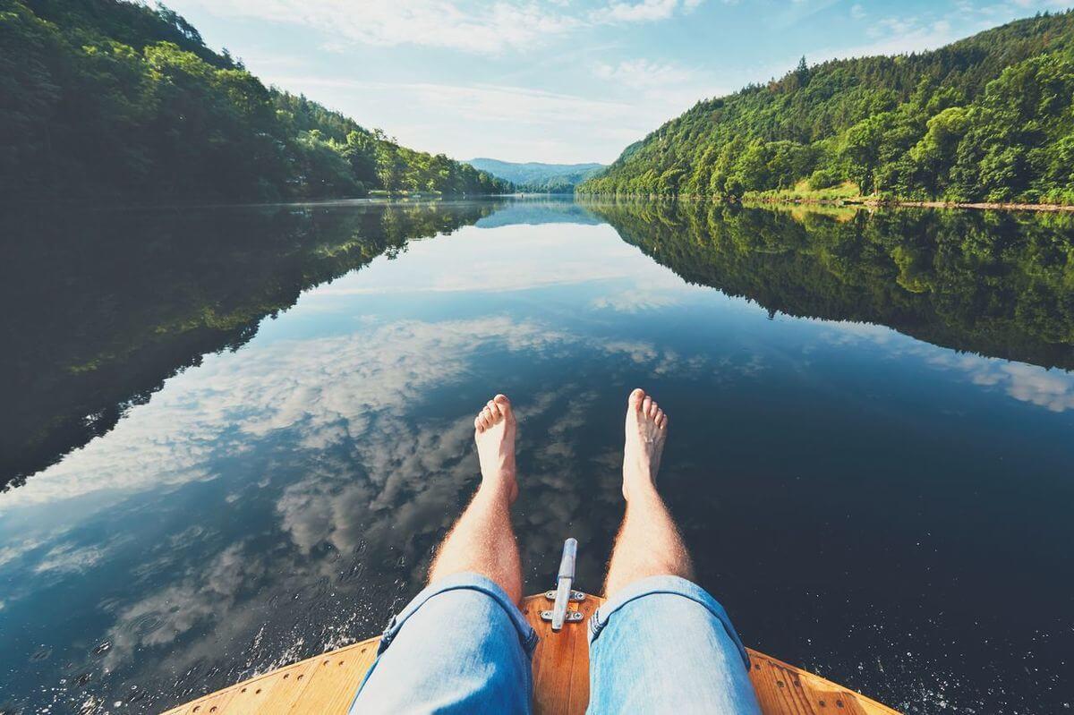 boat on blue lake