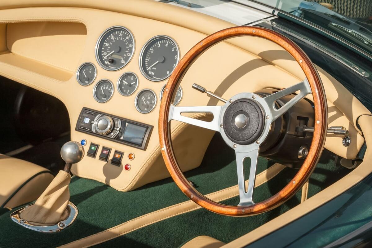 a classic sports car interior